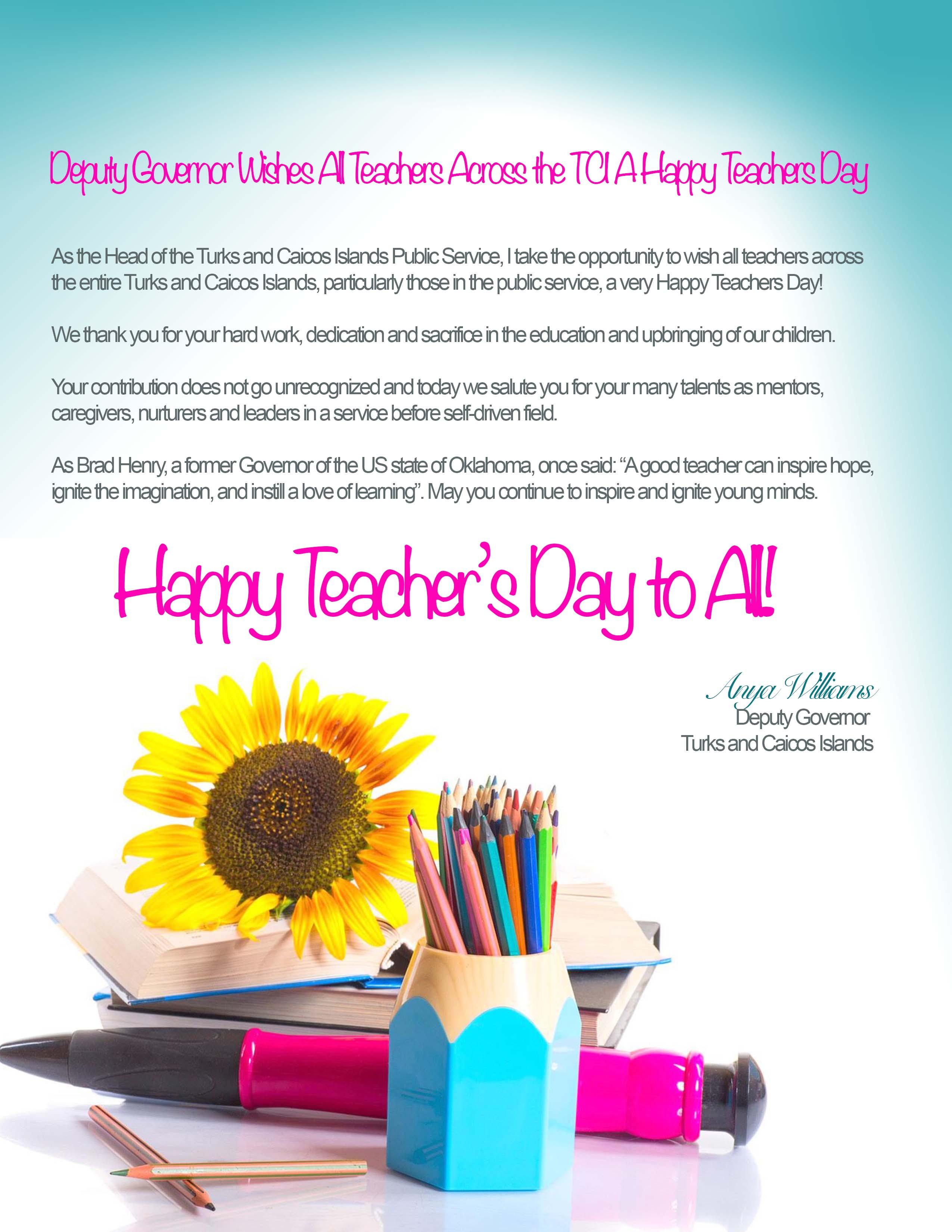 Deputy Governor's Teachers Day Message